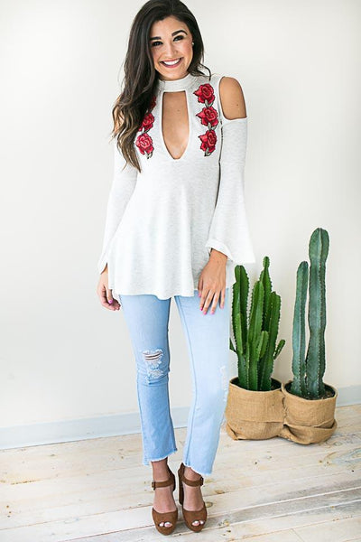 Ruby Red Embroider Cut Out Top -Tops-Lotus Boutique-Lotus Boutique