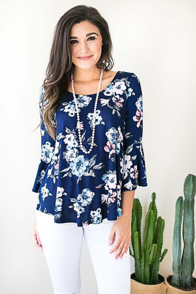 Floral Moves Bell Sleeve Top