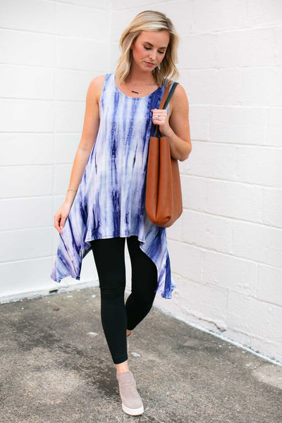 Tops Hallie Blue Tie Dye Tank - Lotus Boutique