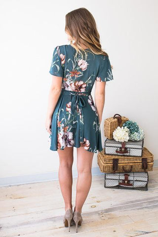 So Much To Say Floral Wrap Dress - Teal