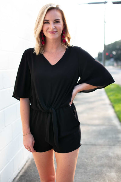 Rompers Simply Irresistible Tie Front Romper in Black - Lotus Boutique