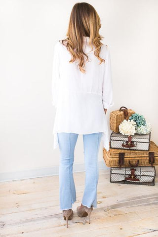 Never To Late Soft Button Down Top