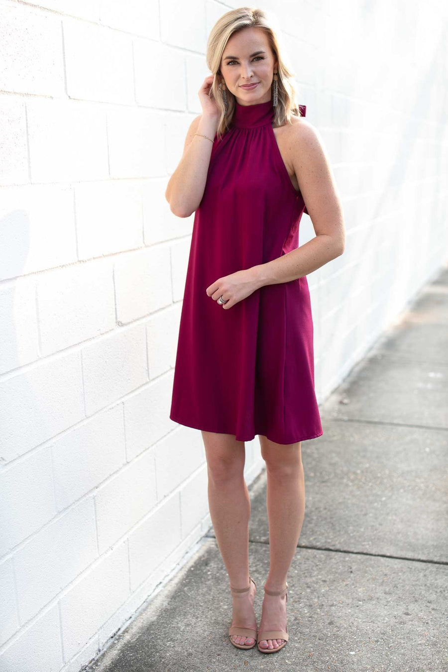 Watching Over Us High Neck Dress in Magenta