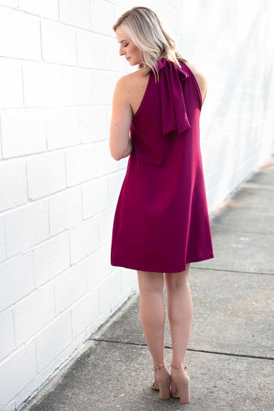 Dresses Watching Over Us High Neck Dress in Magenta - Lotus Boutique