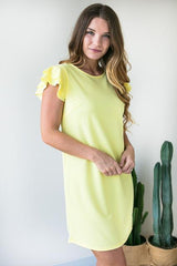 I'm Like a Bird Flutter Sleeve Dress - Yellow