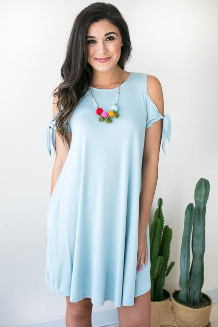 Dancing Tie Sleeve Dress with Pockets - Dusty Blue