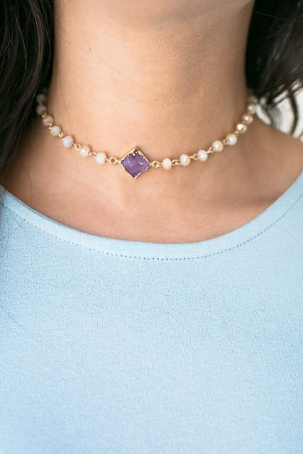 Lilac Diamonds Dainty Choker