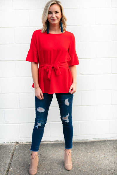 Flutter Sleeve Tie Waist Red Top