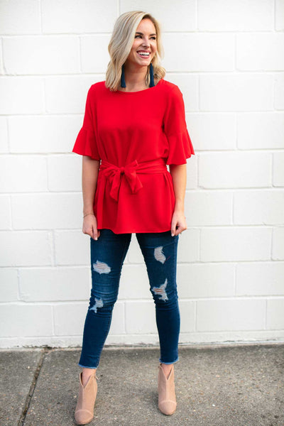 Tie Waist Flutter Sleeve Top - Red