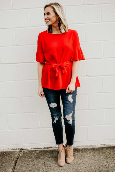 Tie Waist Red Top