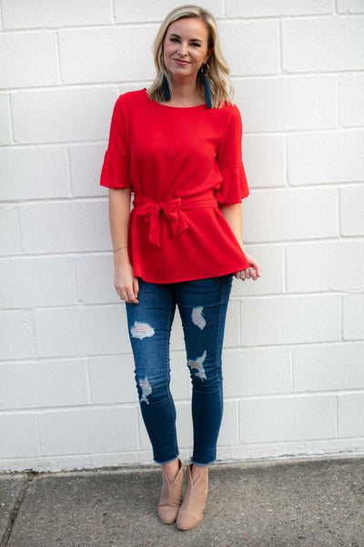 Tie Waist Flutter Sleeve Poppy Red Top