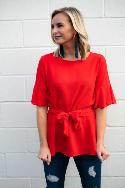 Tie Waist Red Flutter Sleeve Top