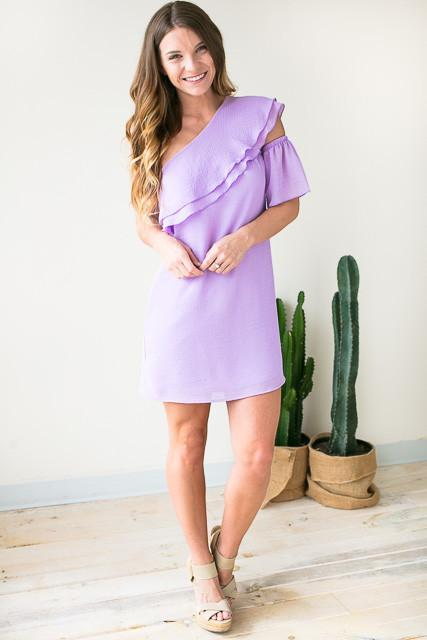 Stay the One Shoulder Dress - Lilac