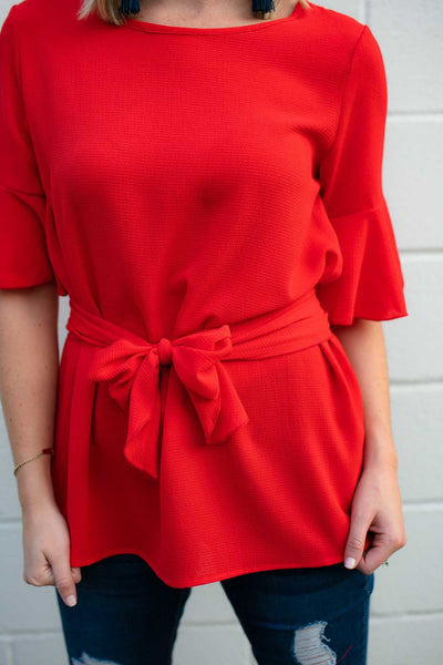 Tie Waist Flutter Sleeve Red Top