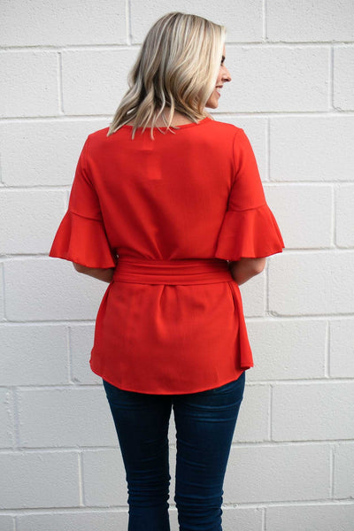 Tie Waist Ruffle Sleeve Red Top