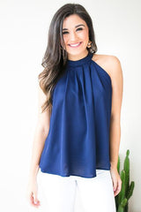 Overtime Halter Neck Top - Navy