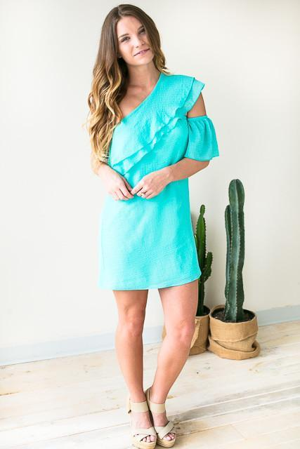 Stay the One Shoulder Dress - Mint