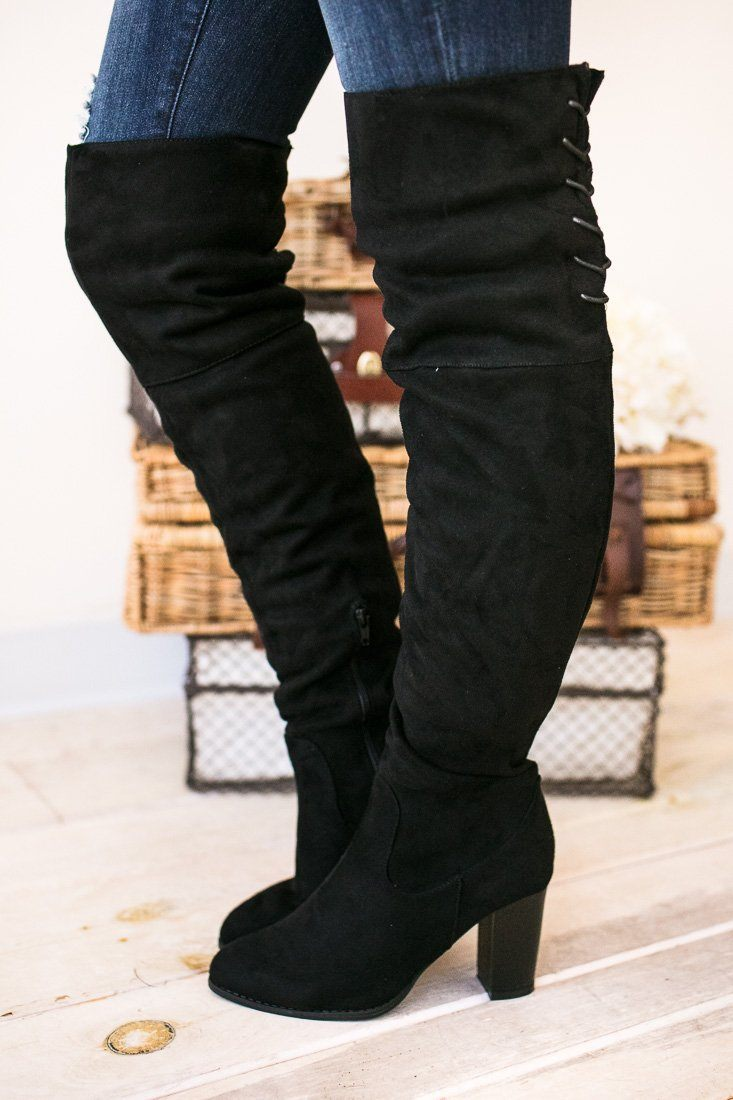 Shoes For The Dramatics Black Over The Knee Boots - Lotus Boutique