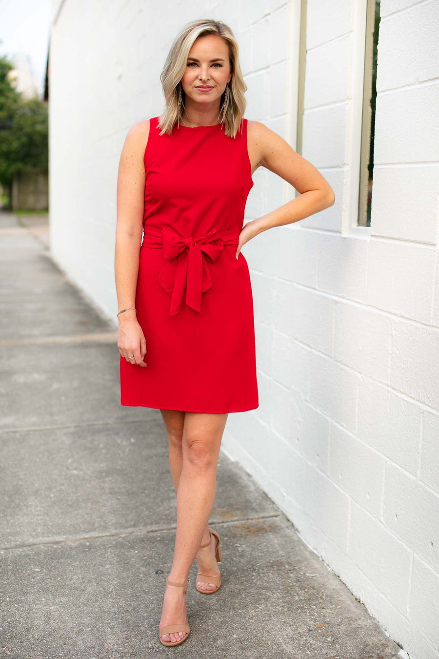 Dresses All The Feels Bow Tie Dress in Red - Lotus Boutique
