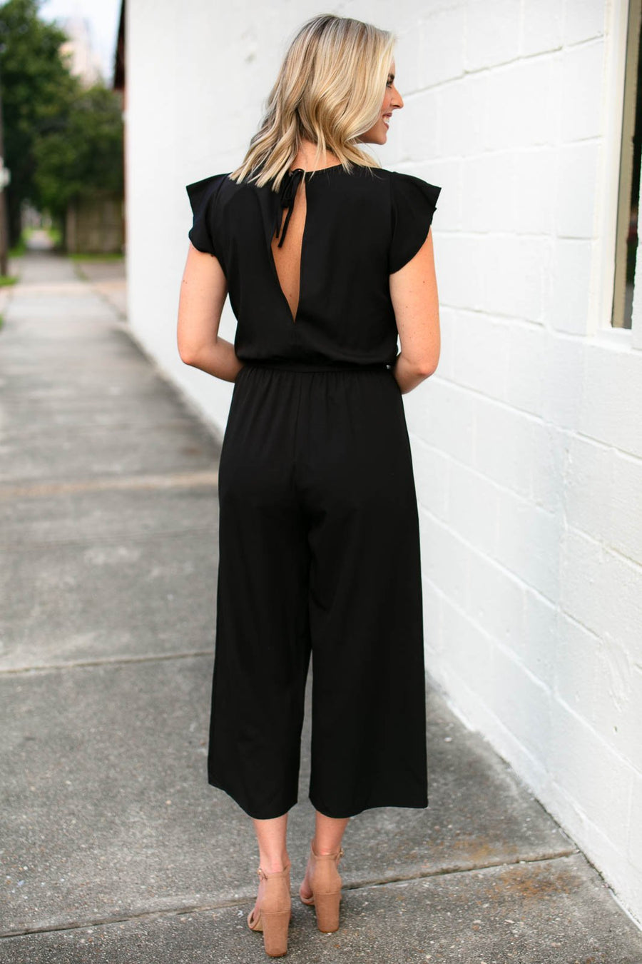 Ruffle Sleeve Black Jumpsuit