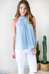 Overtime Halter Neck Top - Light Blue