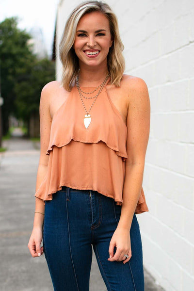 Tops Just Friends Rust Ruffle Crop Top - Lotus Boutique
