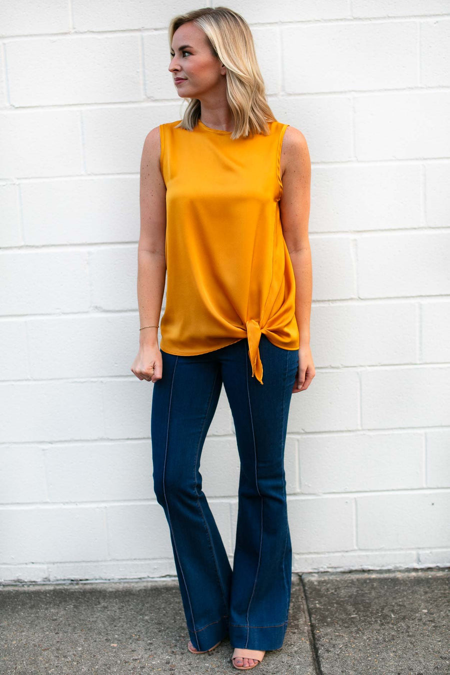Tops Pizzazz Silk Tie Front Tank in Marigold - Lotus Boutique