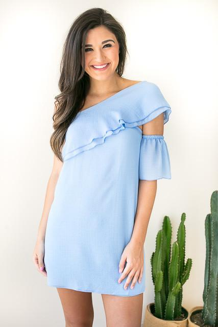 Stay the One Shoulder Dress - Periwinkle