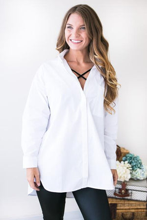 Dani Oversized Button Down Top-Tops-Lotus Boutique-Lotus Boutique