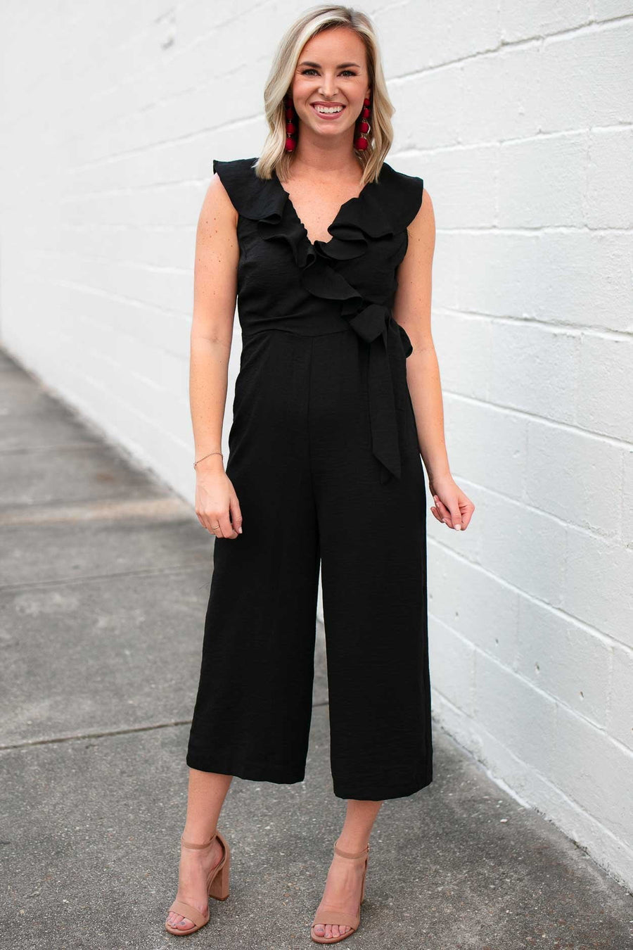 Playsuits Keep Your Guard Up Ruffle Jumpsuit in Black - Lotus Boutique