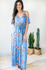 Back At It Cold Shoulder Maxi Dress
