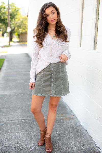 Bottoms Soul Searching Button Corduroy Skirt in Sage - Lotus Boutique