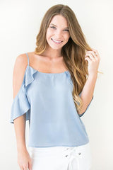 Shimmer Dusty Blue Ruffle Top