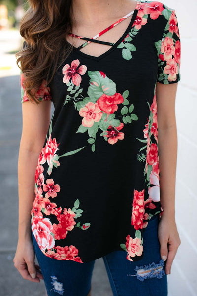 Tops Hanging On Floral Criss Cross Top - Lotus Boutique