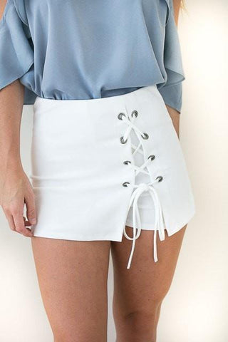 Always Winning Lace Up Skort - White