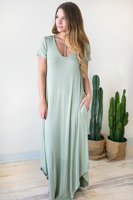 Let Me In T Front Maxi Dress - Sage