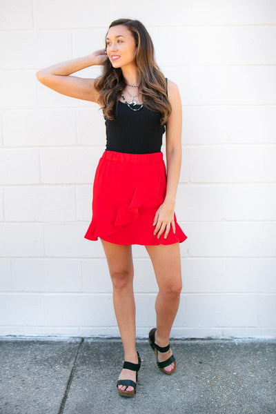 Bottoms Get Out There Red Ruffle Skirt - Lotus Boutique