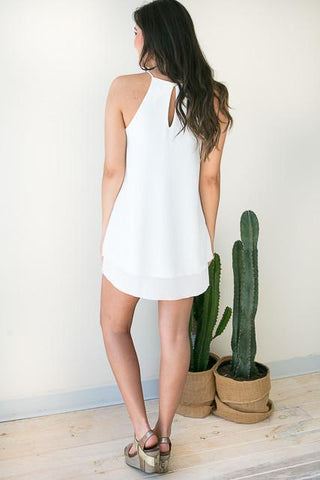 Hats Off Halter Neck White Dress