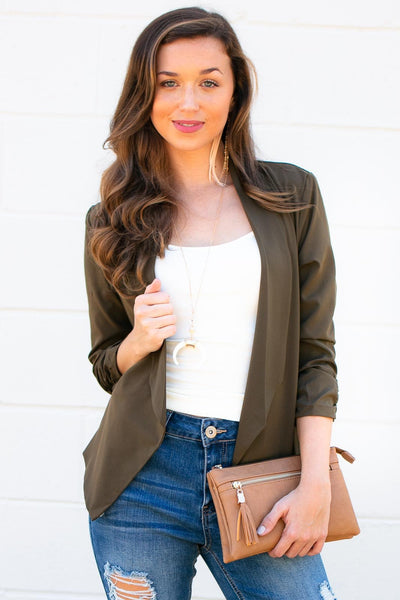 Tops Keep Looking Up Olive Blazer - Lotus Boutique