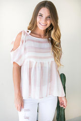 My Kind of Stripe Cold Shoulder Top