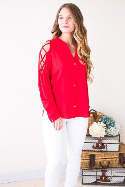 Tops Current Cold Shoulder Long Sleeve Top in Red - Lotus Boutique