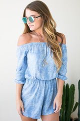 Happy Skies Off Shoulder Romper