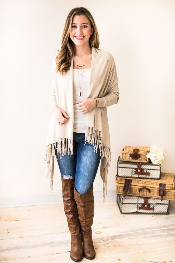 Tops I'm Yours Fringe Wrap Cardigan - Lotus Boutique