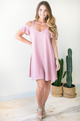 Soulshine Pink Cold Shoulder Dress