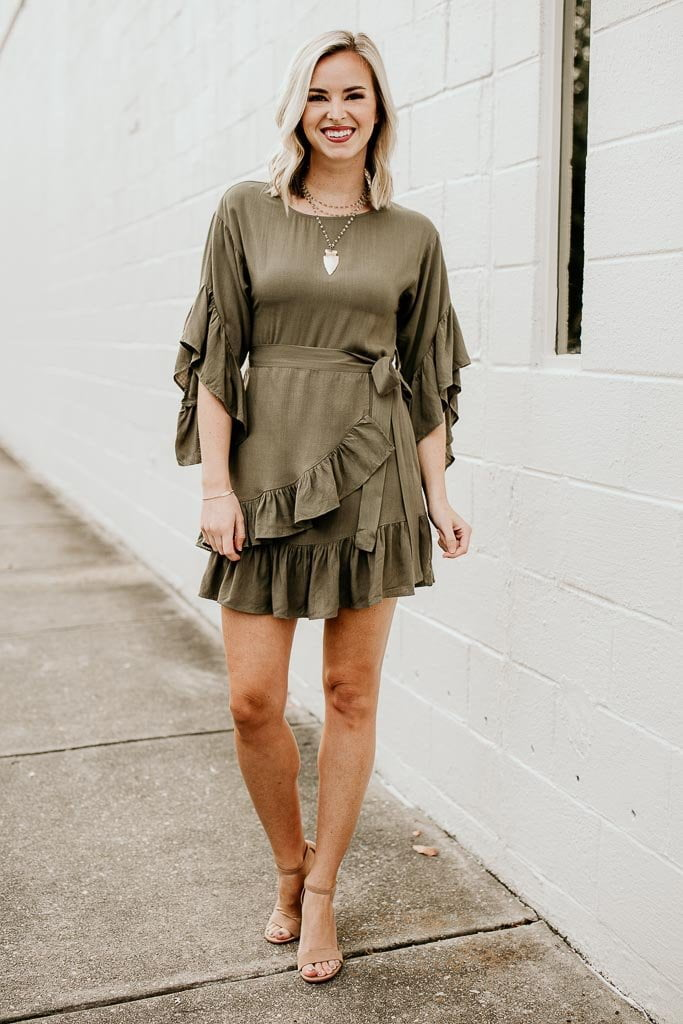 Ruffle Detail Wrap Dress