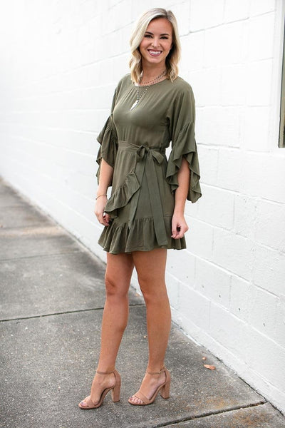 Ruffle Detail Olive Wrap Dress