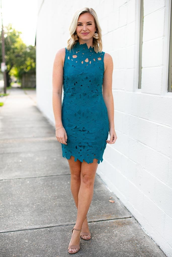 7e29c77e1500 Teal High Neck Lace Dress For You Next Cocktail Party!