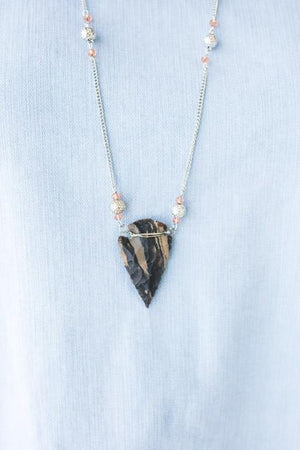 Vintage Stone Arrow Pendant Necklace-Accessories-Lotus Boutique-Lotus Boutique