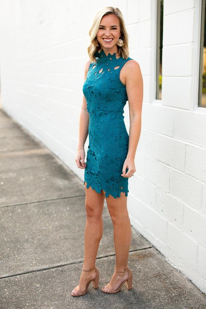 Teal Lace High Neck Dress