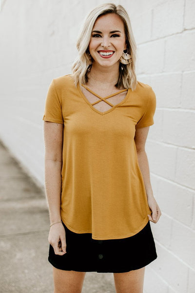 Tops Ready Now Criss Cross Top in Mustard - Lotus Boutique